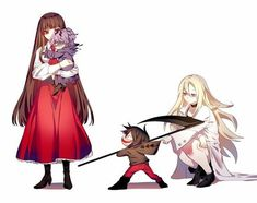 Satsuriku no Tenshi {Angels of Death} - Isaac Foster and Rachel Gardner X Ib and Garry (Ib Game) Film Manga, Art Manga, Angel Of Death, Ib Game, Moba Legends, Alice Mare, Mad Father, Anime Group, Rpg Horror Games