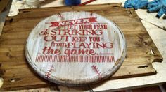 Hey, I found this really awesome Etsy listing at https://www.etsy.com/listing/179955565/rustic-baseball-wall-decor-with-quote