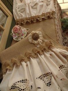 90-Farmhouse-Burlap-Crochet-Lace-Table-Runner-Shabby-ROSETTE-Chic-Rustic-RUFFLE