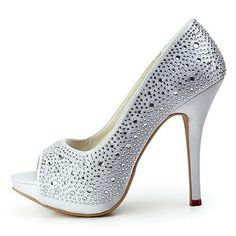 White Wedding Bridal Shoes Peep Toe Party Pumps Rhinestone Satin High Heels US 8