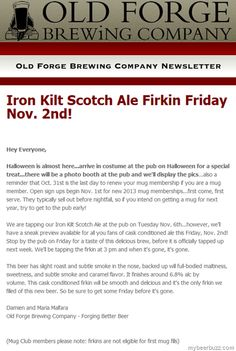 Old Forge Brewing - Iron Kilt Scotch Ale Coming 11/2