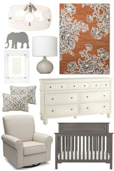 Nursery Inspiration: Neutrals with a Bold Accent Rug, grey nursery, neutral nursery with pop of color