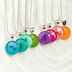 Personalized Bridesmaids Gift - Colorful Initial Necklace, Unique Bridesmaids Jewelry, Handmade Gift for Bridesmaids, Rainbow Colors on Etsy, £20.02