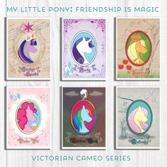 My Little Pony! As cute as these fillies are, they become seemingly posh as their friend Rarity as Victorian Cameos. Inspired by Victorian Cameo Necklaces, these pony silhouette cameos in elegant posters.  #MLP #MyLittlePony