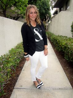 graphic tee, ampersand tee, white jeans, striped loafers, black cardigan