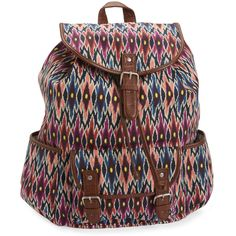 Aeropostale Tribal Ikat Cinch Backpack ($25) ❤ liked on Polyvore featuring bags, backpacks, print backpacks, multi color backpack, aeropostale bags, aéropostale and tribal bag