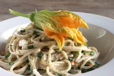 In Erika's Kitchen: Spaghetti with squash blossoms #summer #zucchini #pasta #cheese #vegetarian