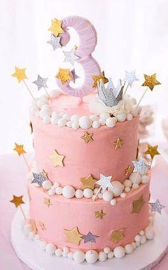 Ideas For Birthday Cake Decorating Girls Twinkle Twinkle Little Girl Birthday Cakes, Baby Girl Cakes, Birthday Star, First Birthday Cakes, Girl First Birthday, First Birthday Parties, First Birthdays, Birthday Table, Birthday Ideas