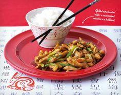 Kuřecí kung pao (www. Kung Pao Recept, No Salt Recipes, Asparagus, Green Beans, Treats, Chicken, Vegetables, Cooking, Asia