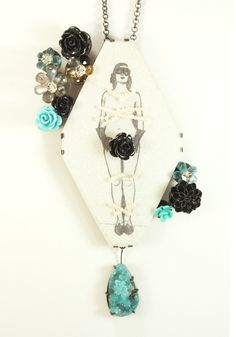 Annie Tung - BlueFlowers 2011  - necklace/brooch, copper, silver, patina, laminated paper, ink on paper, drawn, chrysocolla druse, apatite, labradorite, tourmaline, pearls, acrylic, resin