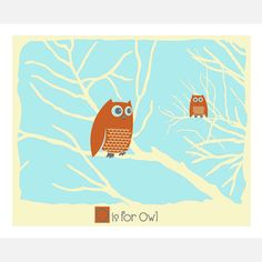 O is for Owl 14x11 now featured on Fab.