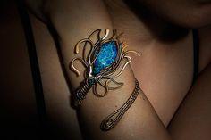 Fleur-De-Lis Copper Bracelets Blue by CalistoBreeze on Etsy