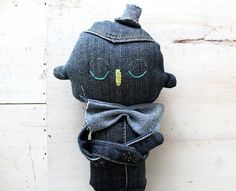 blue denim textile character ooak art doll no.1 by eviebarrow