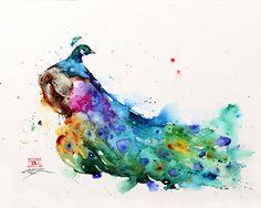 PEACOCK Watercolor Print Peacock Painting Bird by DeanCrouserArt
