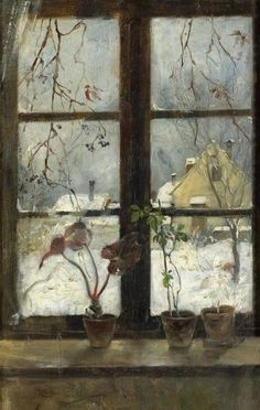 Painting by Henry Alexander (American, Snow Scene through a Winter Window, 1870 Window View, Window Art, Museum Of Fine Arts, Art Museum, Art And Illustration, Illustrations, Kunst Online, Snow Scenes, Through The Window