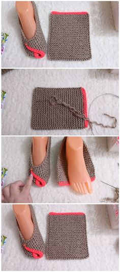 Learn how to make a base and then fold it in order to make these slippers. Crocheting, knitting – both work perfectly fine. Knit Slippers Free Pattern, Crochet Slipper Pattern, Crochet Flower Patterns, Knitted Slippers, Knitted Dolls, Crochet Boots, Knit Or Crochet, Crochet Crafts, Easy Knitting