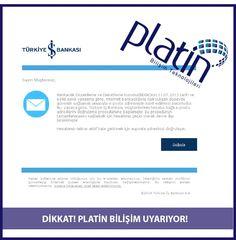 Platin Bilişim uyarıyor! root@turkbankasiemails.xyz adresinden, İş Bankasından gelmiş izlenimi verilen bir mail düşüyor. Gayet güzel bir türkçeyle hazırlanmış. Söz konusu mail http://internet.turkisbnk.com/ adresine yönlendirerek kullanıcıdan giriş yapması isteniyor. Bu işlemi kesinlikle yapmayınız ve dikkatli olunuz! #Oltalama #İşBankası #Mail #ITSecurity #VeriGüvenliği #PlatinBilişimTeknolojileri