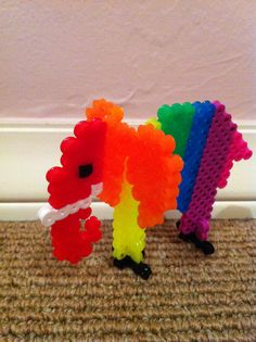 Perler Beads - 3-D Rainbow Elephant by Sophia S.