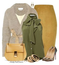 """""""Suede Mustard Skirt"""" by honkytonkdancer ❤ liked on Polyvore featuring River Island, Étoile Isabel Marant, Chloé, Christian Louboutin, Calvin Klein, suede, officewear, fallfashion and FallColors"""