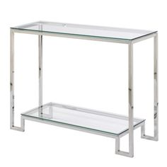 $230 @ overstock. Small Demster Glass Stainless Steel Console Table