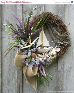 Seaside Cottage Sailboat Wreath ~A New England Wreath Company Designer Original~ Coastal Wreath, Nautical Wreath, Coastal Decor, Beach Wreaths, Coastal Cottage, Wreaths For Front Door, Door Wreaths, Beach Crafts, Summer Wreath
