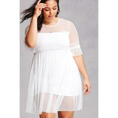 Forever21 Plus Size Sheer Tulle Dress ($35) ❤ liked on Polyvore featuring plus size women's fashion, plus size clothing, plus size dresses, white, white dress, forever 21 cocktail dresses, white tulle dress, short sleeve dress and see-through dresses