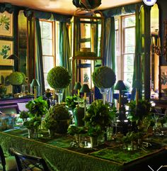 Room of the Day ~ gorgeous emerald green dining room with botanicals, mirrors, greenery, lantern, tiny green shaded lights by Anouska Hempel - her dining room 4.12.13