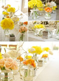 I like the bright yellow that pops out here, but it might be a bit much for the wedding. Also like the unstructured look.  A bit like wildflowers put into a glass jar.