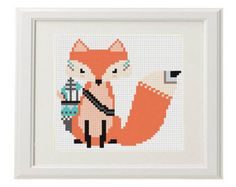 Boho Fox Cross Stitch pattern modern cross by AnimalsCrossStitch