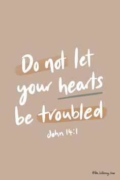 This calligraphy Bible quote is from John 14:1 and reads 'Do not let your hearts be troubled.' A great verse to encourage someone who is anxious or afraid. Typography Letters, Hand Lettering, Digital Vision Board, Don't Let, Let It Be, Bible Verses About Strength, Prayer Closet, Anxious, Your Heart