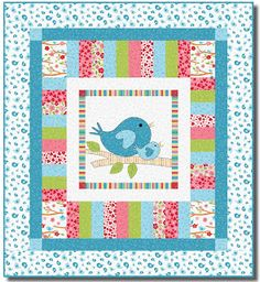 = free pattern = Lovebirds quilt, 40 x by Heidi Pridemore for RJR Fabrics (includes bird templates). Free pattern day at Quilt Inspiration. Quilt Baby, Cot Quilt, Baby Girl Quilts, Girls Quilts, Baby Patchwork Quilt, Colchas Quilting, Quilting Projects, Quilting Designs, Sewing Projects