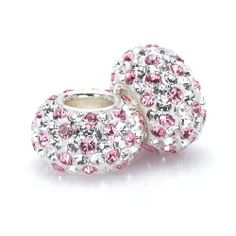 Set of 2 - Bella Fascini White/Clear Crystals With Pink Dots Pave - European Charm Bracelet Beads Made with Authentic Swarovski Crystal Elements - Fits Perfectly on Chamilia Moress Pandora and All Compatible Brands Bella Fascini Beads,http://www.amazon.com/dp/B00BE7Q0UM/ref=cm_sw_r_pi_dp_6xW4rb0TDN35HX68