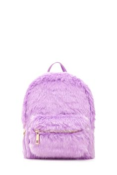 A structured mini backpack featuring allover faux fur, a high-polish zip top, a front zip pocket, a top handle, and adjustable fabric buckle straps. Girly Backpacks, Cute Mini Backpacks, Backpack Purse, Leather Backpack, Fashion Bags, Fashion Backpack, Back Bag, Girls Bags, Cute Bags