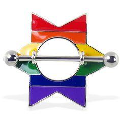 Rainbow star nipple shield. #accessories #bodyjewelry #piercing #jewelry #piercings #bodymod #nipplejewelry #nippleshield ♥ $10.49 via OnlinePiercingShop.com
