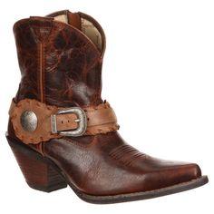 Durango Women's 7 Spur Strap Crush Short Cowboy Boot - Brown 8.5, Brown Sugar