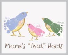 Handprint Art, Forever Prints. Bird Footprint Art. Choose colors. Grandma Mother's Day
