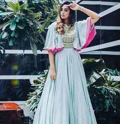 Beautiful blue pink cape style gown by Puwin Couture Surat #Frugal2Fab