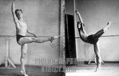 Rudolf Nureyev rehearsing at the barre, late 1950s.