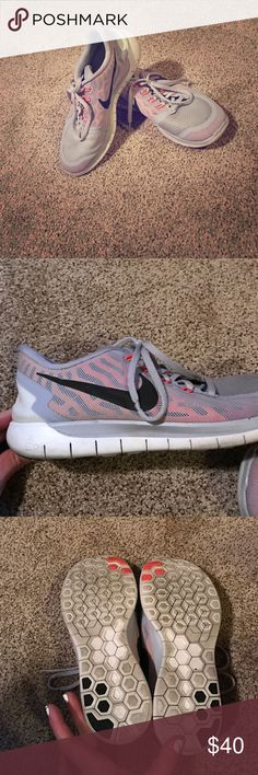 Nike free 5.0.  Rare color!  Lilac/orange/black Beautiful shoes!  No trades.  Slide stain on the left shoe.  Not noticeable when wearing.  Lots of life still left.  Just have too many shoes. Nike Shoes Athletic Shoes