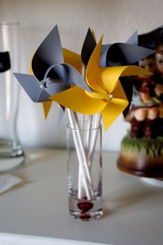 I think that grey and yellow are one of the classical schemes for wedding decor – colorful and elegant. Such a color scheme is ideal for a spring wedding when you are tired of winter and want colors so much, or for a bright summer wedding . Yellow Wedding Favors, Wedding Colors, Gender Neutral Baby Shower, Birthday Favors, Pinwheels, Bar Mitzvah, Cupcake Toppers, Color Schemes, Wedding Decorations