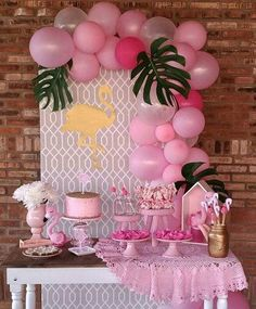 A party with the Flamingo theme! Pink Flamingo Party, Flamingo Baby Shower, Flamingo Birthday, 13th Birthday Parties, Luau Birthday, Birthday Party Decorations, Birthday Ideas, Tropical Party, Luau Party