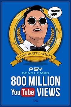 PSY's 'Gentleman' music video has gained 800 million Youtube views  #psy #youtube #kpopyoutube #psygangnamstyle #psyyg #psybigbang #psymadonna #psykpop #psygentleman #kpopmap #youtube #million #psysuite