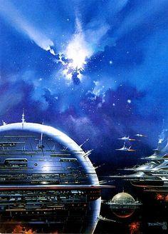 Space Spheres by Boris Vallejo.  #SpaceStations  #SpaceHabitats  #BorisVallejo