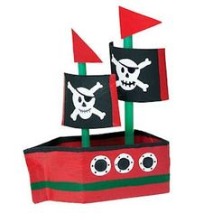 Make a pirate ship (and a sail boat) from a recycled milk carton - from the May 2013 issue of Ranger Rick Boat Crafts, Camping Crafts, Recycled Toys, Recycled Crafts, Bible School Crafts, Preschool Crafts, Diy Arts And Crafts, Paper Crafts, Milk Carton Crafts