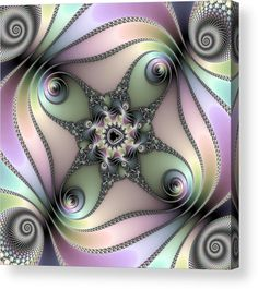 Fractal Spiral Art Acrylic Print for sale. Beautiful pearl-like pastel colors (purple, orange, yellow, blue, green). The image gets printed directly onto the back of a sheet of clear acrylic. The image is the art - it doesn't get any cleaner than that! Matthias Hauser - Art for your Home Decor and Interior Design.