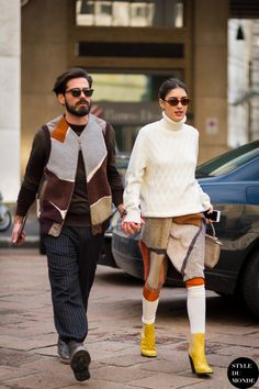 How to Style a Chunky Knit Sweater - cream turtleneck sweater + fuzzy colorblock envelope skirt, tube socks and bright yellow ankle boots | StyleCaster