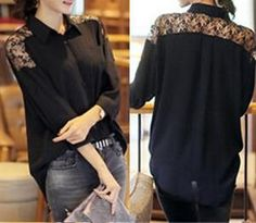 Champi Lace Inset Long-Sleeved Blouse   YESSTYLE
