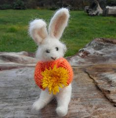 Little white rabbit - needle felted bunny soft sculpture. spring woodland decoration