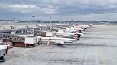 London Heathrow Airport, 1971. A line-up of Hawker Siddeley Trident aircraft (G-ARPJ in the foreground) of British European Airways (BEA) at London Heathrow Airport Terminal 1 in 1971, over 40 years ago. Photo by Ben Brooksbank