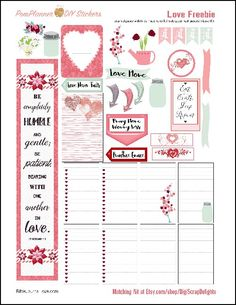 Planner & Journaling Printables ❤ This Love Kit FREEBIE is packed with pink and green romance. Super for February or anytime of year. Great for a Bible journal layout. The freebie includes a margin strip you can use in your Bible or planner.